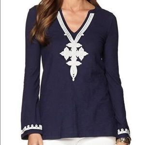 Lilly Pulitzer Thea V-Neck Tunic In Navy